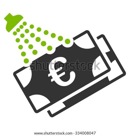 Euro Money Laundry glyph icon. Style is bicolor flat symbol, eco green and gray colors, rounded angles, white background. - stock photo