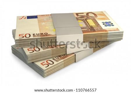 Euro money notes isolated on white background - stock photo