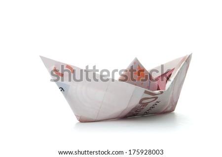 Euro money paper boat  - stock photo