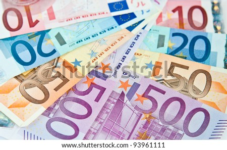 Euro money: ten, twenty, fifty, five hundred - stock photo