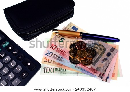 Euro money, wallet, calculator, pen and wallet on a white background - stock photo