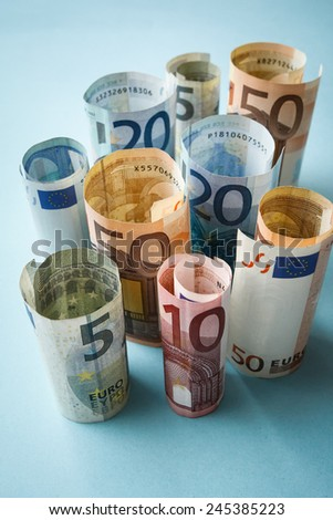 Euro money, with rich colors and lighting. Great for finance, business and economy themes.  - stock photo