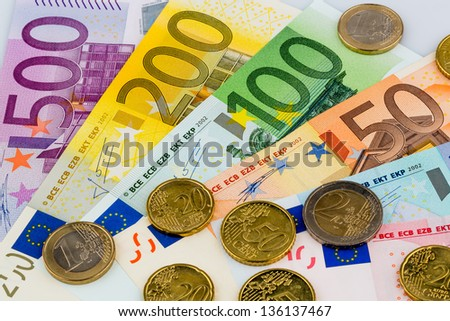 euro notes are adjacent. symbolic photo for earnings, sales and cash - stock photo