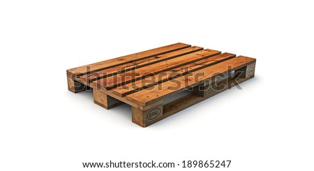 euro pallet isolated on white background - stock photo