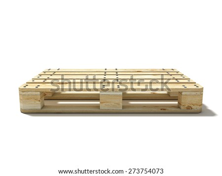 Euro pallet. Side view. 3D render illustration isolated on white background - stock photo