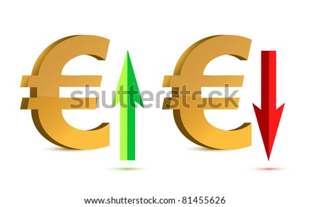 Euro raising and falling sign illustration designs - stock photo