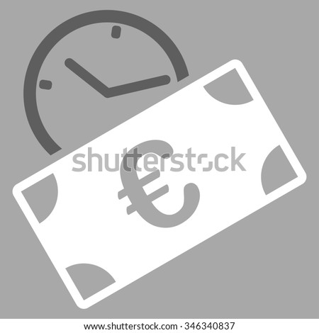 Euro Recurring Payment glyph icon. Style is bicolor flat symbol, dark gray and white colors, rounded angles, silver background. - stock photo