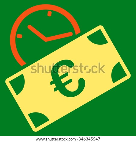 Euro Recurring Payment glyph icon. Style is bicolor flat symbol, orange and yellow colors, rounded angles, green background. - stock photo