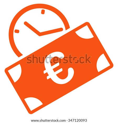 Euro Recurring Payment glyph icon. Style is flat symbol, orange color, rounded angles, white background. - stock photo