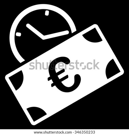 Euro Recurring Payment glyph icon. Style is flat symbol, white color, rounded angles, black background. - stock photo