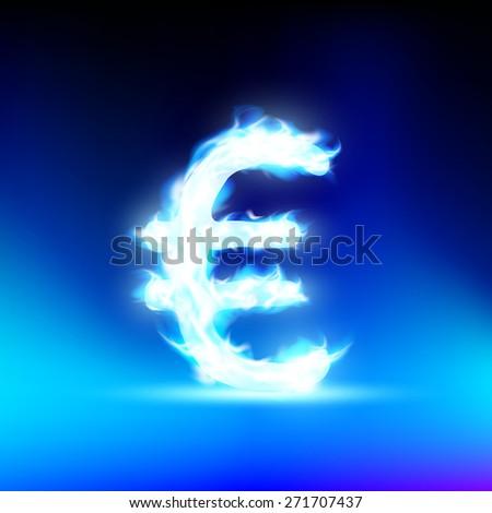 Euro sign burning blue flame - stock photo