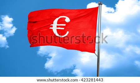 euro sign, 3D rendering, a red waving flag - stock photo