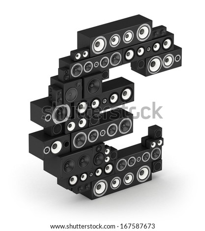 Euro sign from black woods hi-fi speakers sound systems in isometry - stock photo