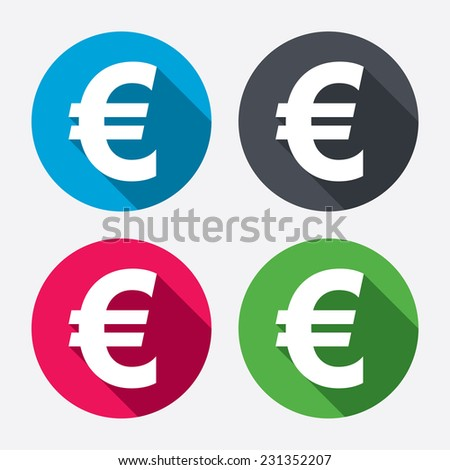Euro sign icon. EUR currency symbol. Money label. Circle buttons with long shadow. 4 icons set. - stock photo