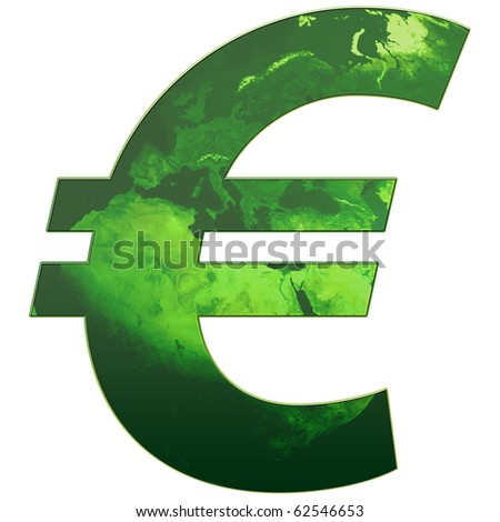 Euro Sign in green color - stock photo