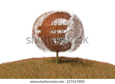euro sign on a tree - stock photo
