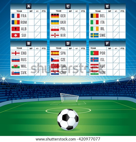Euro Soccer Table with Qualified National Teams. 2016 Image - stock photo