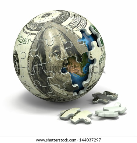 Euro sphere from puzzle. Conceptual image. 3d Elements of this image furnished by NASA - stock photo