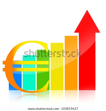 Euro symbol and colorful business success charts with red arrow indicates growth - stock photo