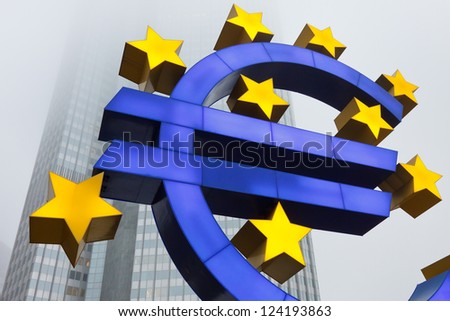 Euro Symbol at the European Central Bank (ECB) in Frankfurt, Germany. - stock photo