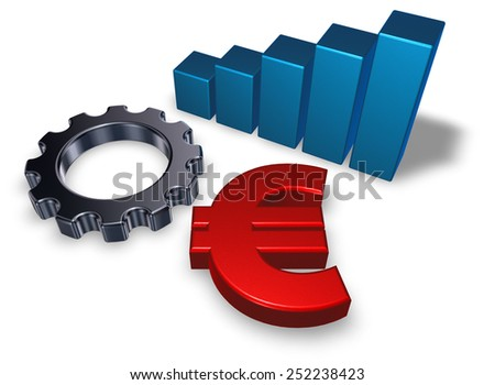 euro symbol, business graph and gear wheel on white background - 3d illustration - stock photo