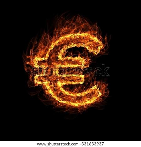 euro symbol eu currency money icon on fire - stock photo