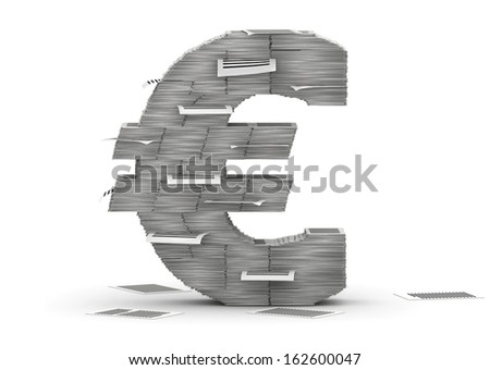 Euro symbol , from stacks of paper pages font - stock photo