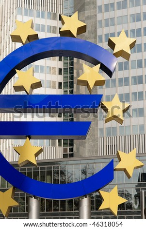 Euro Symbol in front of European Central Bank, Frankfurt - stock photo