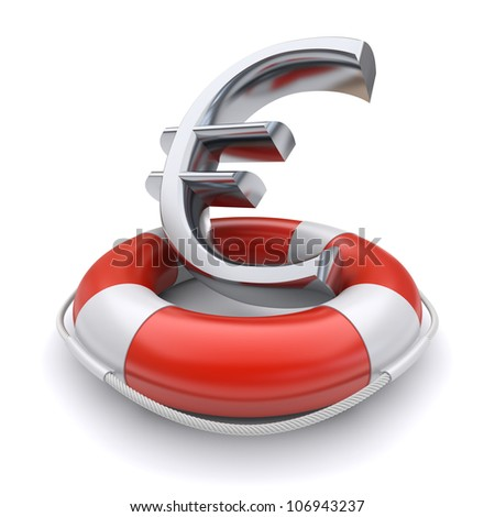 Euro symbol in lifebuoy. Business concept. 3d image - stock photo