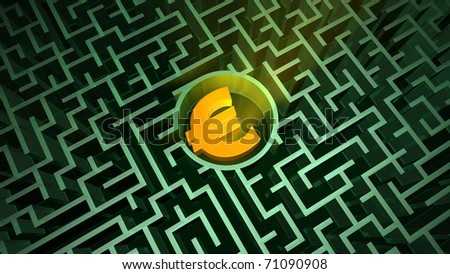 Euro symbol in the maze - stock photo