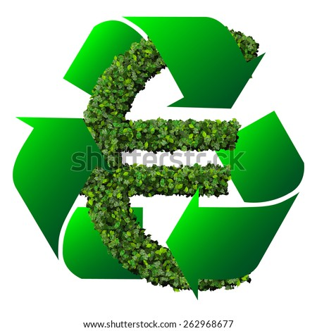 Euro symbol made from green leaves with Eco sign isolated on white background. 3d render. - stock photo