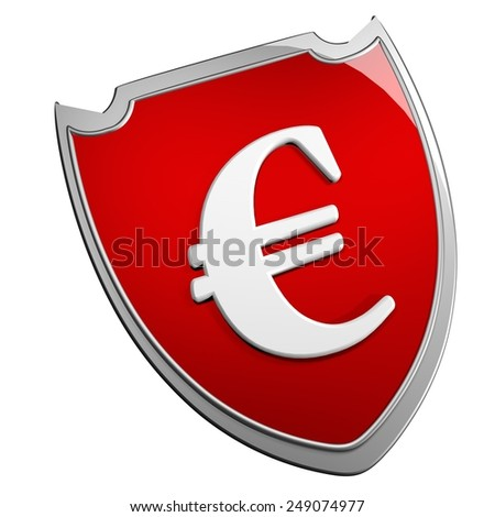Euro symbol over red metallic shield, 3d render - stock photo