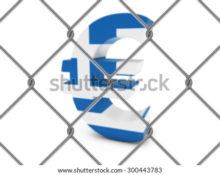 Euro Symbol textured with the Greek Flag behind Chain Link Fence with depth of field - Isolated on white - stock photo