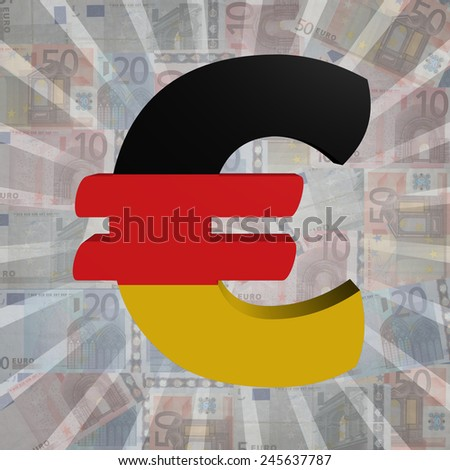 Euro symbol with German flag on Euro currency illustration - stock photo