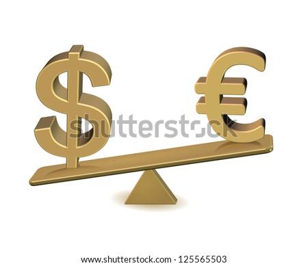 euro vs  dollar winner euro - stock photo