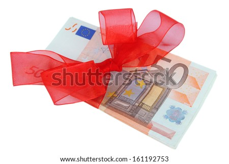 Euro with gift bow isolated on white - stock photo
