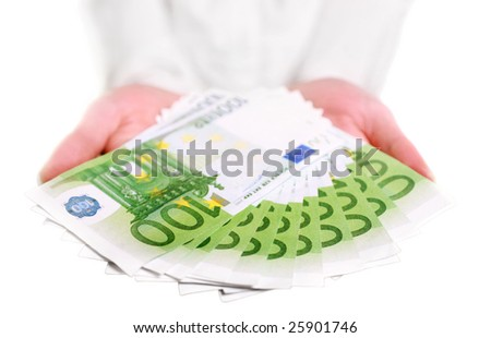 Eurobill money in hands isolated on white - stock photo