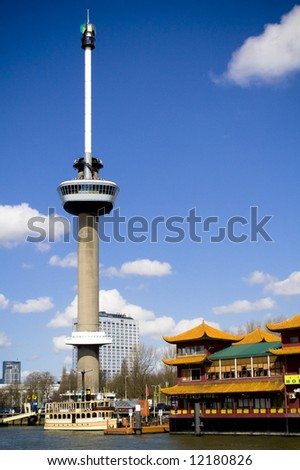 Euromast tower in the city of Rotterdam - stock photo
