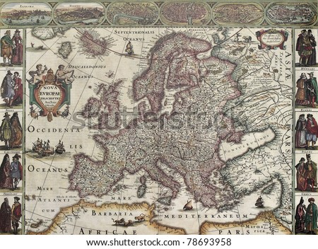 Europa old map. Created by Henricus Hondius, published in Amsterdam, 1623 - stock photo