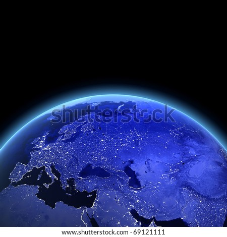 Europe and Asia 3d render. Maps from NASA imagery - stock photo