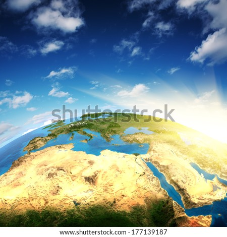 Europe and North Africa. Elements of this image furnished by NASA - stock photo