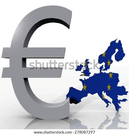 Europe and the euro symbol - stock photo