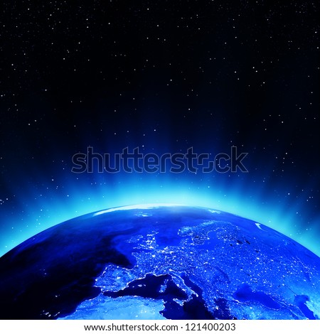 Europe at night. Elements of this image furnished by NASA - stock photo