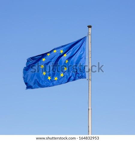 europe flag with stars on bluy sky European belgium Germany - stock photo