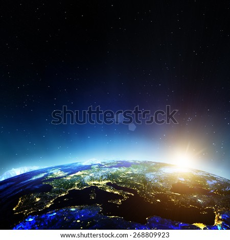 Europe from space. Elements of this image furnished by NASA - stock photo