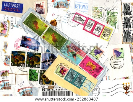 EUROPE, HONG KONG - CIRCA 2000-2010: Background of the postage stamps issued in miscellaneous countries. Scraps. - stock photo