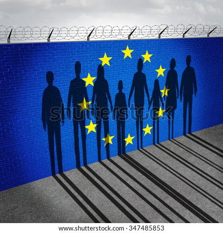 Europe immigration and european refugee crisis concept as people on a border wall with a Euro zone flag as a social issue on refugees or illegal immigrants with the shadow of a group of migrants. - stock photo