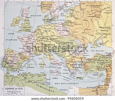 Europe in 1270 old map. By Paul Vidal de Lablache, Atlas Classique, Librerie Colin, Paris, 1894 - stock photo
