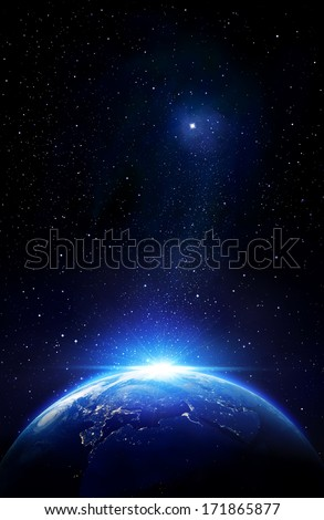Europe in the space  - Elements of this image furnished by NASA - stock photo