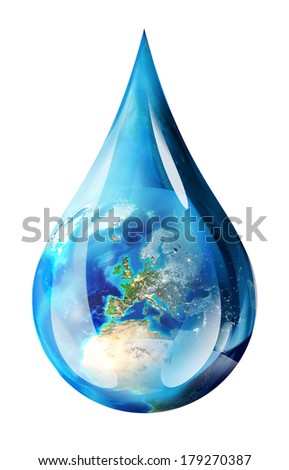 europe in water drop - isolated  - stock photo